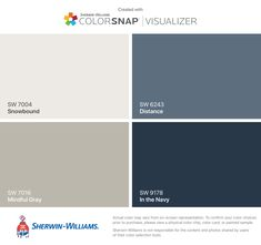 I found these colors with ColorSnap® Visualizer for iPhone by Sherwin-Williams: Snowbound (SW 7004), Mindful Gray (SW 7016), Distance (SW 6243), In the Navy (SW 9178).