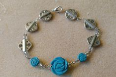 Silver Steampunk Bracelet with Turquoise Floral Beads,Neo Victorian,Christmas,Hanukkah,Birthday,Holiday gift idea,Gift for her,Costume by TheAndromedaGallery on Etsy