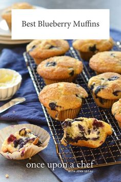 Bursting with fresh blueberries with a tender crumb and sparkling sugar crust, these are the best blueberry muffins. Best Blueberry Muffins, Blueberry Recipes, Blue Berry Muffins, Muffin Recipes, Breakfast Recipes, Dessert Recipes, Breakfast Muffins, Healthy Desserts, Breakfast Ideas