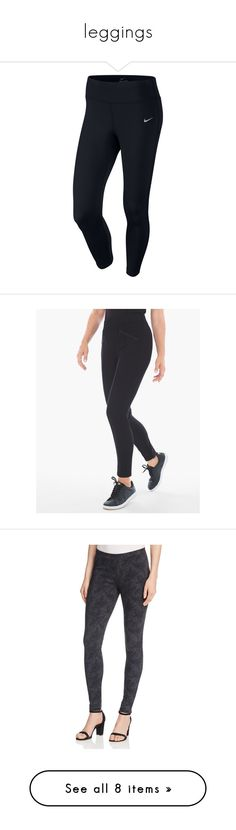 """""""leggings"""" by rosnys ❤ liked on Polyvore featuring leggings, pants, bottoms, nike, black, petite short pants, slim fitted pants, slimming leggings, pull on pants and petite ankle jeans"""