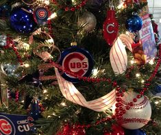 Chicago Cubs Christmas Tree by Ribbonista Leah Farrar-White