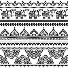 Mehndi, Indische Henna tatoeage naadloze patroon met olifanten — Stockillustratie #78208218
