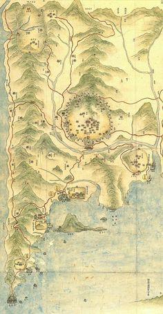 Map of Busan Fortifications and Harbor 1872  팬저의 국방여행 : 부산진성 11(부산진성의 형태) 1872년 지방지에서 본 동래부의 모습으로 상당히 자세하게 그려져 있음을 알 수 있습니다. 금정산성과 동래읍성, 경상좌수영성, 부산진성, 왜관, 다대포진성이 그려져 있으며 두모포진, 서평포진의 경우 간락하게 그려져 있습니다. 부산진성의 경우 영가대가 보이고 포구의 모습이 보입니다. (클릭하시면 크게 볼 수 있습니다.) 이미지출처 서울대학교 규장각한국학연구원 출처:부산진성 11(부산진성의 형태)