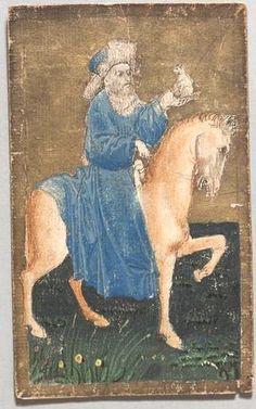 "Spielkarte Hunde König aus dem ""Ambraser Hofjagdspiel"", Konrad Witz (Werkstatt), Basel, um 1440/1445. -- http://bilddatenbank.khm.at/viewArtefact?id=91035"