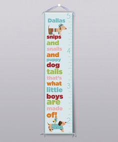 Take a look at this 'What Little Boys Are Made Of' Personalized Growth Chart by Grape Tomato on #zulily today!