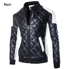 Gender: Men Outerwear Type: Leather & Suede Clothing Length: Regular Closure Type: Zipper Fabric Type: Broadcloth Collar: Mandarin Collar Sleeve Length: Full Color Style: Contrast Color Decoration: Po