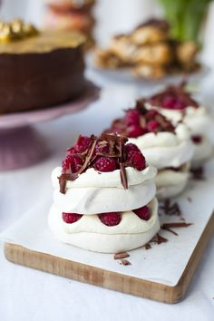 Raspberry and Dark Chocolate Mini Pavlova Stacks   DonalSkehan.com, Surprisingly simple to make but a real showstopper!