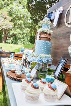 Dessert tablescape from a Bottles and Burlap Baby Shower on Kara's Party Ideas | KarasPartyIdeas.com (41)
