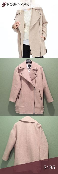 BR Moto Cocoon Coat Very oversized fit. Very warm/thick. Color is washed stone. Embedded with four BR logo engraved buttons. Designed with buckle straps on sides. Two zip up pockets. Overlap diagnal zip in center. I live in Florida....Only worn once. Like brand new!! Lol Banana Republic Jackets & Coats Pea Coats