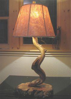 Juniper and Manzanita Lamp made by my husband.