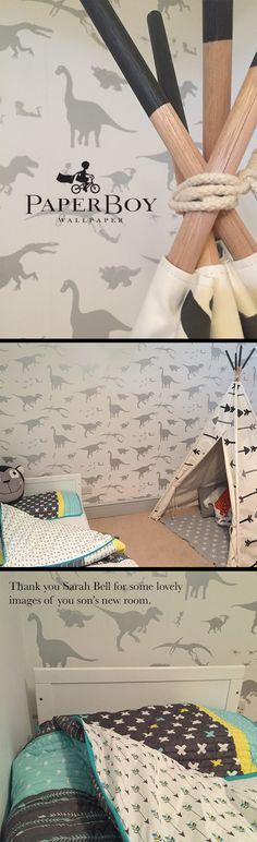 "Sarah Bell told us ""My little boy loves his new big boy bedroom, the wallpaper is just perfect for my dinosaur loving 2 year old."" We think she has created such a lovely little room for her lovely little boy. Victoria x"