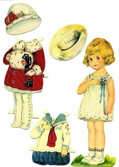 Vintage Little Girl paper doll. Paper Art, Paper Crafts, Foam Crafts, Retro, Paper Dolls Printable, Printable Vintage, Vintage Paper Dolls, Christmas Paper, Paper Toys