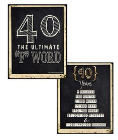 These 40th Birthday Decorations are a group of 40th Birthday Signs that YOU PRINT just like in the photos above. THIS A DIGITAL DOWNLOAD. There are