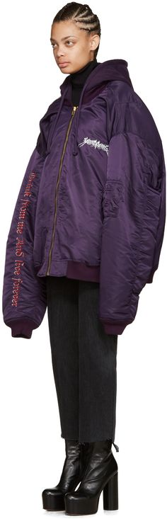 Vetements: Purple 'Total Fucking Darkness' Bomber Jacket | SSENSE