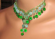 1950s Necklace Mid Century Necklace with Green by SpiderVintage