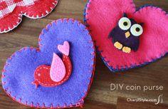 Easy DIY felt coin purse for Valentine's Day
