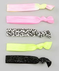 Love this Neon Pink & Yellow Hair Tie Set on #zulily! #zulilyfinds