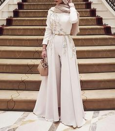 Online Shop Long Sleeves Grey Jumpsuit with Removable Skirt Women Fashion Clothing Evening Gowns Formal Wear Dress Long Party vestidos de g Evening Dress Long, Muslim Evening Dresses, Hijab Evening Dress, Hijab Dress Party, Muslim Dress, Evening Gowns, Muslim Hijab, Modest Formal Dresses, Formal Dresses With Sleeves