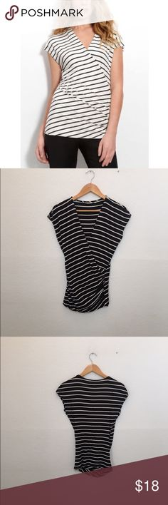"""{Nordstrom} halogen faux wrap top stripes A faux-wrap front creates flattering gathers in a versatile V-neck top fashioned from an exceptionally soft stretch knit. Approx. length from shoulder: 26"""". Rayon/spandex; dry clean. By Halogen®; imported. Halogen Tops"""