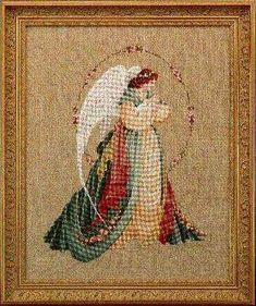 Lavender and Lace Guardian Angel - Cross Stitch Pattern. The stitch count is x Celtic Cross Stitch, Cross Stitch Angels, Cross Stitch Rose, Cross Stitch Kits, Counted Cross Stitch Patterns, Cross Stitch Designs, Cross Stitch Embroidery, Everything Cross Stitch, Victorian Angels