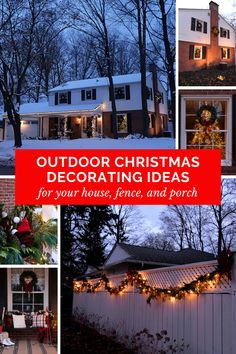 outdoor christmas decorating ideas for house, fence, porch. christmas decorating ideas for front porch. Outdoor Christmas Planters, Christmas Decorations For The Home, Outdoor Decorations, Roof Christmas Lights, Christmas Porch, Christmas Living Rooms, Diy Porch, Decorating Ideas, Decor Ideas