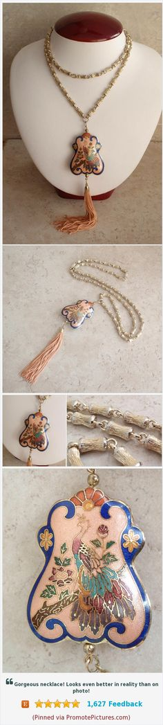 Cloisonne Peacock Necklace Assemblage Upcycled Bamboo Chain Pink Tassel Vintage V0323 #peacockjewelry #cloisonnenecklace #tasselnecklace https://www.etsy.com/cutterstone/listing/559225572/cloisonne-peacock-necklace-assemblage?ref=shop_home_active_1  (Pinned using https://PromotePictures.com)