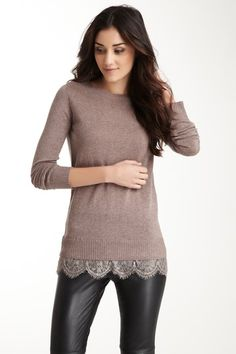 Acrobat Lace Hem Pullover Top by Acrobat on @HauteLook (overall look, sweater, lace peeking through, leather(ette) pants)