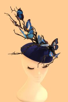 Blue Butterfly Hat Blue Fascinator Wedding Hat Ascot Hat Luxury Millinery in Clothes, Shoes & Accessories, Wedding & Formal Occasion, Women's Formal Hats Tea Party Outfits, Blue Fascinator, Ascot Hats, Derby Party, Wedding Hats, Blue Butterfly, Fascinators, Headpieces, Girls Accessories