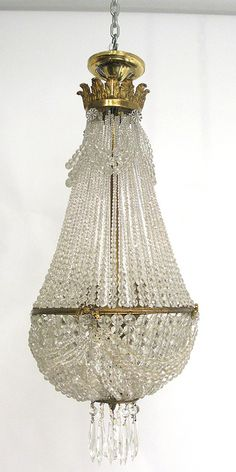 Antique French Beaded Empire Chandelier
