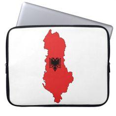 Albania - map and flag - laptop sleeve - cante ne forme zarfi per laptop, ne madhesi dhe stile te ndryshme - Shqiperia - harta e Shqiperise dhe shqiponja e flamurit