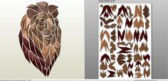 pdo file template for Animal - Mosaic Lion. Geometric Origami, Origami 3d, Origami Paper, Paper Quilling, Cardboard Sculpture, Cardboard Paper, Paper Toys, 3d Paper Crafts, Diy Crafts For Gifts