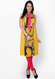 Yellow Printed Kurti - Pannkh Kurtas & kurtis for women | buy women kurtas and kurtis online in indium