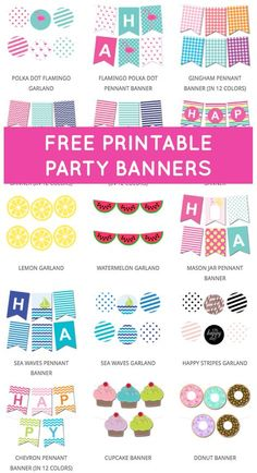 Free Printable Party Banners from @chicfetti Free Banner, Diy Banner, Welcome Banner, Party Printables, Free Printables, Free Printable Party, Free Printable Birthday Banner, Free Printable Banner Letters, Printable Templates