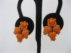 Burnt Orange Plastic Flower Earrings by GotMilkGlassAndMore, $5.95