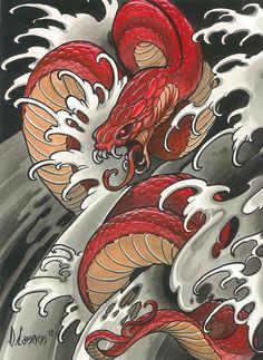 Schlange - Tattoo - - # - Most creative tattoo list Snake Drawing, Snake Art, Kunst Tattoos, Irezumi Tattoos, Diy Tattoo, Tattoo Arm, Chinese Tattoo Designs, Tattoo Oriental, Japanese Snake Tattoo
