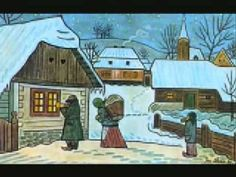 A Czech Christmas wouldn't be complete without Josef Lada's simply drawn carolers, snow-covered villages and nativity scenes. Josef Lada w. Christmas Carols Songs, The Lost World, Disney Songs, Silent Night, Naive Art, Outsider Art, Nocturne, Prague, Christmas Diy