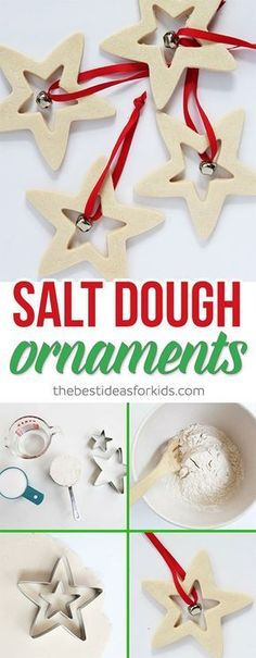 These Salt Dough Ornaments are so easy to make! These would make perfect Christmas gifts and are easy for kids to do too! The salt dough recipe is really easy too. Perfect kid-made Christmas gift idea. Salt dough decorations that will look great on your Christmas tree! via Kim | The Best Ideas for Kids