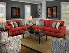 how to match a room s colors with bold fabric colorful homes rh pinterest com red couch with grey walls Red Walls and Furniture Green