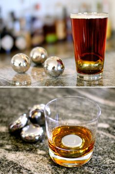 Similar to whiskey stones, these steel balls and discs actually keep your beverage colder longer than soapstone.