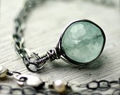 Wire Wrapped Necklace Aquamarine Drop on Oxidized Sterling Silver