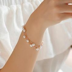 Simple Sweet Simulated Pearl Bracelets Double Layer Jewelry Bijoux Cute Bracelets Bangles Metal Color Golden - New Ideas Layered Jewelry, Simple Jewelry, Cute Jewelry, Modern Jewelry, Pearl Jewelry, Jewelery, Jewelry Accessories, Jewelry Design, Gold Jewelry