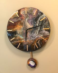 Your place to buy and sell all things handmade Wall Clock Wooden, Clock Wall, Resin Wall Art, Copper Mountain, Agate Coasters, Diy Clock, Resin Crafts, Retail Design, Epoxy