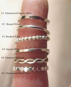 BUILD your OWN Handmade Sterling Silver SKINNY Stack Rings round, square, bead wire, twist. $11.00, via Etsy.