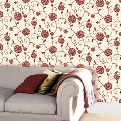Gilt Rose Ruby Textured Wallcovering from Crown harks back to the stunning beauty of Art Nouveau. The Mackintosh inspired trailing rose is embellished with gold and sparkling glitter. We also sell a co-ordinating striped version of this wallpaper. £12.99 per 10m roll from The Range.