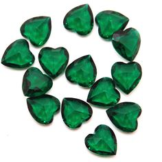 11x12 Emerald Green Hearts Vintage Gl Faceted Jewels Gorgeous Unfoiled Pink And