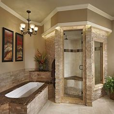 In a house, especially a large house must have a master bathroom. And the master bathroom has a larger size than the other bathrooms. And besides, the master bathroom is designed more elegant and m… Dream Bathrooms, Dream Rooms, Beautiful Bathrooms, Master Bathrooms, Chic Bathrooms, Home Goods Decor, Home Decor, Home Spa, Bath Remodel
