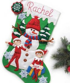 Snowman and Scout Elf Christmas Stocking - Felt Applique Kit