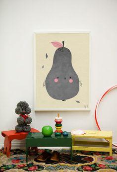 PIRUM PARUM - Adorable Pear Poster for kids' room decor