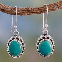 Turquoise dangle earrings, 'Serenity'