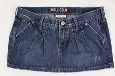 Hollister Juniors Jean Denim Skirt Mini Pleated Distressed Size 1 #Hollister #Pleated